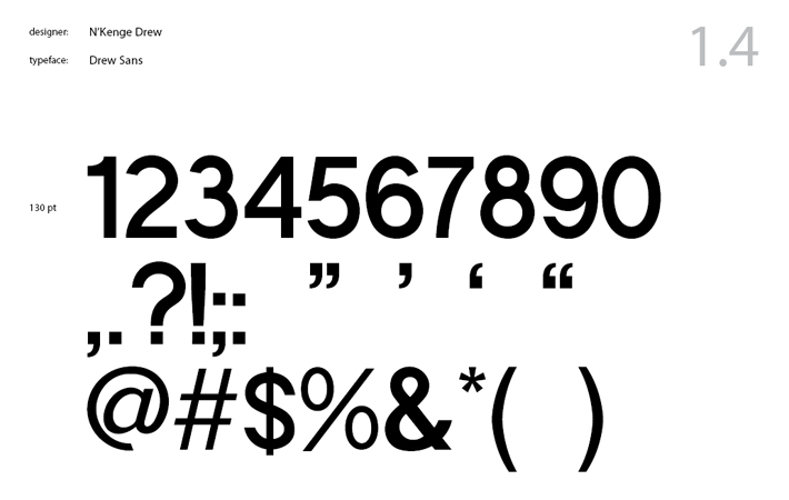 Drew Sans numbers and symbols